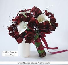 Wine burgundy black tip roses off-white by SharonNagassarDesign