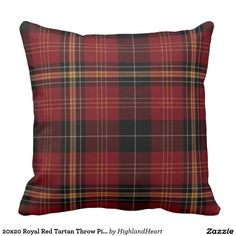 20x20 Royal Red Tartan Throw Pillow