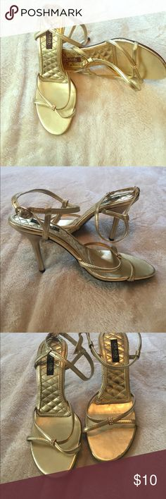 Gold heels Gold open toe heels with crystal accent on front straps. Heel about 2.5 inches Shoes Heels