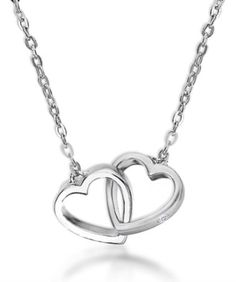 Lily & Lotty Sterling Silver  Real Diamond Francesa Intertwined Hearts  Necklace