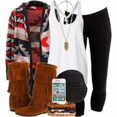Fall Outfit With Cardigan and Beanie (don't know why they needed to add the phone)