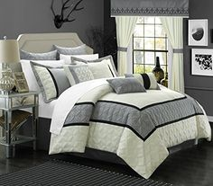 I did not use the window treatments, only the comforter set. Chic Home 25 Piece Aida Bed in a Bag Comforter Set, King, White/Silver Chic Home http://www.amazon.com/dp/B015HRJ1KK/ref=cm_sw_r_pi_dp_L7bEwb116Z363