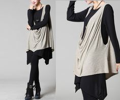 jersey - asymmetrical knits tunic and veat set