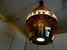 Huge Vtg Schlitz Beer Barrel Rotating Motion Mid Century Swag Lamp ...