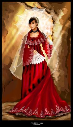 Filipiniana by ~socorro on deviantART Maria Clara Dress Philippines, Philippines Dress, Modern Filipiniana Gown, Filipiniana Wedding, Filipino Fashion, Dress Design Sketches, Fashion Artwork, Traditional Dresses, Fashion Outfits