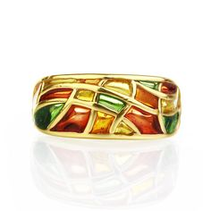 fine jewelry stained glass orange ring autumn ring gold ring jewelry enamel ring jewelry sterling silver gilded ring handmade jewelry