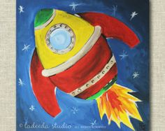 Rocket Ship Blast Off, Space Wall Art for Children, 12 x 12 Canvas, Art for Boys Room or Nursery