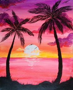 Sunset Palms @ Pinot's Palette Woodmere (Cleveland Paint and Sip Art Studio) - Have an evening in paradise with this bright fun painting of palms by a sunset. Easy Canvas Painting, Painting & Drawing, Canvas Art, Beach Drawing, Canvas Ideas, Canvas Paintings, Drawing Sunset, Canvas Painting Designs, Palm Tree Drawing