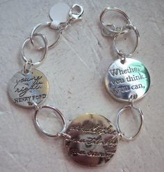 "Thoughts to Share - Inspirational Bracelet. ""Whether you think you can, or whether you think you can't, you're right"" - Henry Ford. $24.95 #inspirationaljewelry #bracelet"
