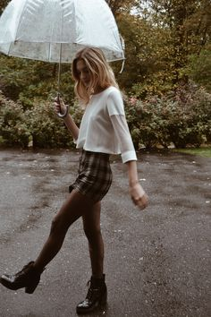 Rainy day is coming your way. Fall fashion, fall outfits, casual, checkered skirt, ootd.