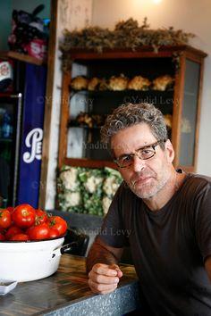 Portrait of Chef Eyal Shani at his Miznon Restaurant, Tel Aviv, Israel.