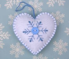 Felt Christmas Ornament Scandinavian Heart by PuffinPatchwork