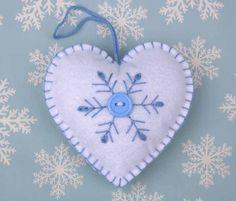 Scandinavian heart Christmas Ornament handmade by PuffinPatchwork