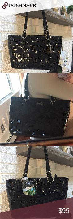 Authentic Coach Black Patent leather bag.  NWOT NWOT Shiny black patent leather is beautiful.  Pockets on the outside ends and a large open pocket on the back.  Inside has 1 zippered compartment and 2 open pockets.  Silver hardware.  Has leather coach tag attached.   Interior is black.  F17728. Please no lowball offers. Coach Bags