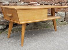 Vintage TELEPHONE Table With DRAWER 1960s STYLISH Unusual DESIGN In LIGHT  Oak In Home, Furniture