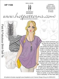Hot Patterns 1189 - Fast & Fabulous Shirt-Tail T's