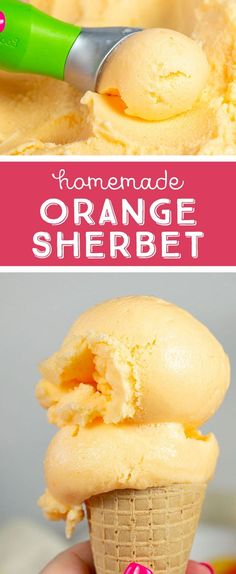 Simple and delicious homemade orange sherbet that you can make with, or without an ice cream machine! With a few simple ingredients, you'll be loving this Orange Sherbet recipe to share with all your family and friends! Orange Sherbet Recipe, Sherbet Ice Cream, Orange Ice Cream, Sherbet Recipes, Orange Juice, Homemade Strawberry Ice Cream, Healthy Ice Cream, Simple Ice Cream Recipe, Gastronomia
