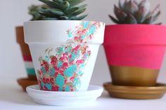 DIY painted terracotta pots - My SoCal'd Life Terracotta Plant Pots, Painted Plant Pots, Painted Flower Pots, Painting Terracotta Pots, Pots D'argile, Clay Pots, Flower Pot Crafts, Diy Flower, Decorated Flower Pots