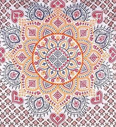 Indian Mandala Tapestry,Wall Hanging Tapestry, Hippie Hippy Tapestries,Cotton Badsheet, Bedding Bedspread, Picnic Beach Sheet,Decorative Table Cloth, 82x90""