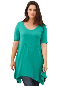 "Top, tunic with handkerchief hem by Ellos® | Plus Size 32"" long 