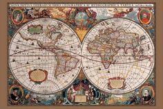 17th Century World Map Poster