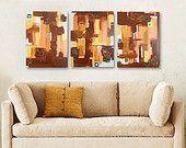 SALE - TAPESTRY triptych - gallery fine art - contemporary interior design - ooak home wall decor - brown copper