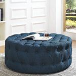 Inspire your decor with the Amour Round Ottoman. Fashionably chic with a refreshing look, Amour features a luxuriously tufted round design with dense foam padding, fine fabric upholstery, and non-marking black plastic. Upholstered Fabric, Wellness Design, Tufting Buttons, Upholstered Ottoman, Round Ottoman, Coffee Tables For Sale, Fabric Ottoman, Modway, Tufted