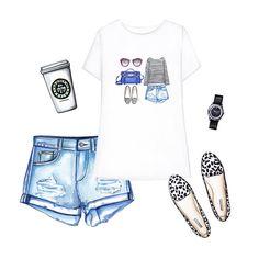 Printed t-shirt, Shorts, Flats