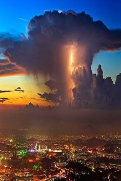Lightning in Sunset Clouds - via Amazing Nature's photo on Google+
