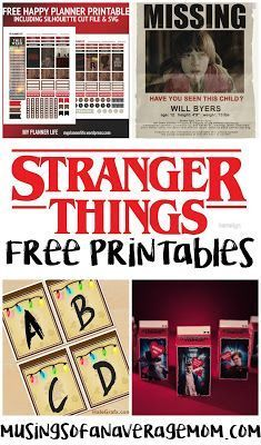 20 Free Stranger Things Printables including party printables, calendars, planners and more!
