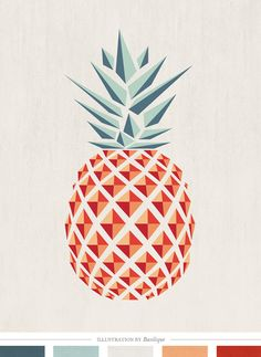 Graphic Design Pineapple (Art Print by basilique) Art And Illustration, Pineapple Illustration, Graphic Design Illustration, Graphic Design Inspiration, Color Inspiration, Grafic Design, Pineapple Art, Pineapple Design, Pineapple Pattern
