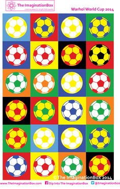 World Cup 2014 kicks off here! Warhol Inspired Football pattern, free to… Football Team Kits, Football Crafts, Football Themes, Football Art, Soccer Crafts, Theme Sport, Vive Le Sport, Ecole Art, Kids Soccer