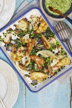 This delicious quick supper recipe for roast cauliflower with peas, halloumi and wild garlic pesto is not only tasty, but is also under 500 kcals per serving. Supper Recipes, Roast Recipes, Veggie Recipes, Healthy Recipes, Pesto Pasta, Cauliflower Recipes, Roasted Cauliflower, Wild Garlic Pesto, Pasta Al Pesto