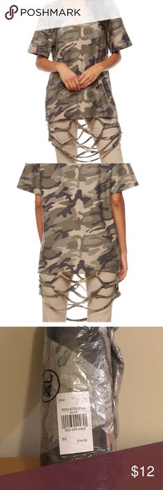 XL Slashed /Distressed Camo /Camouflage tunic top XL Slashed /Distressed Camo /Camouflage tunic top - brand new in package never opened. cleo Tops Tunics