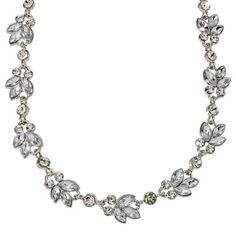 Women's Clear Stone Leaf Pattern Necklace - Silver