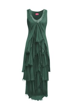 Productos | COLECCIÓN PV 2020 Dresses, Fashion, Green Dress, Ruffles, Sequins, Long Gowns, Silk, Spring Summer, Products