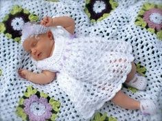 Sarahndipities ~ fortunate handmade finds: Things to Make: Blessing Dress and Blanket. I'd want it just a few inches longer Crochet Blessing dress, blanket, and mary jane booties.links to free patterns! crochet Blessing dress perhaps for lil miss Angel Wi Baby Girl Crochet, Crochet Bebe, Crochet Baby Clothes, Baby Blanket Crochet, Crochet For Kids, Knit Crochet, Crochet Granny, Booties Crochet, Crochet Flower