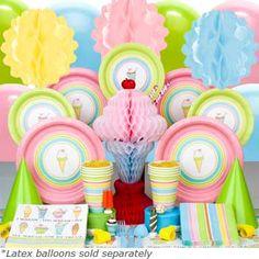 Super cute ice cream (or non-ice cream) theme party supplies & invitations