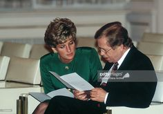The Princess of Wales attends a dinner in Prague Castle with Czech President Vaclav Havel, May 1991.