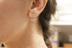 Boucles d'oreilles dessous de lobe argent et zirconium, www.oranjade.com