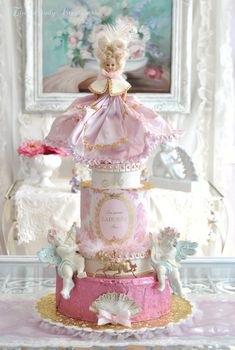 ♥ Marie Antoinette assemblage cake ~ by the wonderful mixed-media artist, Jennifer Hayslip [1st of two pins]