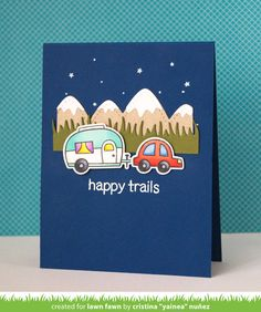 Lawn Fawn - Happy Trails, Stitched Mountain Borders, Blue Jay cardstock, Noble Fir cardstock _  card by Yainea for Lawn Fawn Design Team