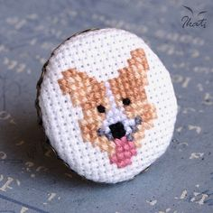 Ikati Works presents hand embroidered Welsh Corgi dog adjustable ring! The ring is made of antique style (brass) base and decorated with