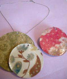 DIY paper jewelry using scrapbook paper and Mod Podge, from Etcetorize