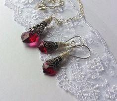 Ruby Red Necklace Baroque with Swarovski Filigree & Luxury Wire Wrap Low Ship #ArtstiqueJewelry