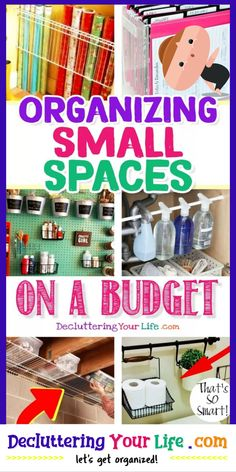Organizing Small Spaces on a Budget - Small Space Organization Hacks Clutter Solutions, Organizing Solutions, Organizing Tips, Budget Organization, Small Space Organization, Diy Cleaning Products, Cleaning Hacks, Space Girl, Creative Storage