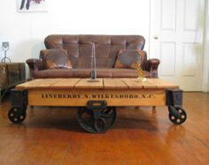 Beautifully Refurbished/Restored Original Lineberry Industrial/Railroad/Factory Cart Coffee Table
