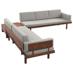 For Sale on - Living room set, in teak and fabric, Denmark, Well designed sofas from Danish manufacture. The frames are completely been made of solid teak. Danish Living Room, Tiny Living Rooms, Living Room Sets, Dream Furniture, Living Furniture, Sofa Furniture, House Furniture, Striped Dining Chairs, Wooden Sofa Set Designs