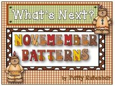 This set of pattern cards is all ready for November patterning. It starts with cards that have the AB pattern of four pictures and they need to find the fifth picture to match. There are also cards with ABC, AAB, ABB, and AABB patterns. Print, laminate and cut apart and you're ready to go.