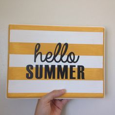 Hello summer sign  by CreightonCreative on Etsy Follow @CreightonCreativeShop on instagram for special offers. wood sign, wall art, hello summer, seasonal signs, yellow and white stripes. gallery wall